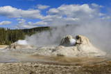 Rocket and Grotto Cone Geysers Erupt  Upper Geyser Basin  Yellowstone National Park  Wyoming  Usa