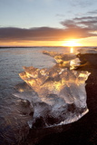 Icebergs at Sunset on Jokulsa Beach  on the Edge of the Vatnajokull National Park  South Iceland