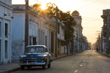 Street Scene at Sunrise with Vintage American Car  Cienfuegos  Cuba