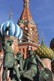 Statue of Minin and Pozharskiy and the Onion Domes of St Basil's Cathedral in Red Square