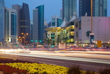 Contemporary Architecture and Traffic at Dusk in the City Centre  Doha  Qatar  Middle East