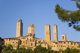 Medieval Towers Lit by the Rising Sun  San Gimignano  Siena  Tuscany  Italy  Europe