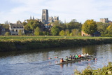 View across the River Wear to Durham Cathedral  Female College Rowers in Training  Durham