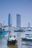 Fishing Boats on Song River and City Skyline  Da Nang  Vietnam  Indochina  Southeast Asia  Asia