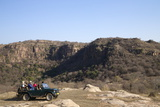 Tourists on Safari in Open Jeep  Ranthambore National Park  Rajasthan  India  Asia