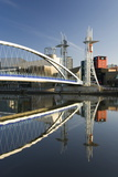 The Millennium Bridge Reflected in the Manchester Ship Canal  Salford Quays  Salford