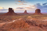 Monument Valley at Dusk on the Utah and Arizona Border  United States of America  North America