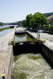 Ship in Lock on River Main  Wurzburg  Bavaria  Germany  Europe