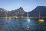 Yachts on Wolfgangsee Lake  Flachgau  Salzburg  Upper Austria  Austria  Europe
