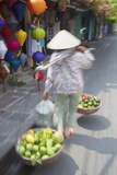 Woman Carrying Fruit Along Street  Hoi An  Quang Nam  Vietnam  Indochina  Southeast Asia  Asia
