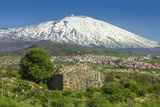 The 3350M Snow-Capped Volcano Mount Etna  Looms over the Maletto Town on its Western Flank  Maletto