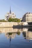 Notre Dame De Paris Cathedral and the River Seine  Paris  France  Europe
