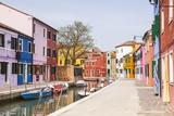 Colored Houses on the Island of Burano  Venice  Veneto  Italy  Europe