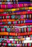 Colorful Carpets Made of Llama and Alpaca Wool for Sale at San Pedro Market  Cuzco  Peru