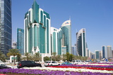 City Centre Buildings and Corniche Traffic  Doha  Qatar  Middle East