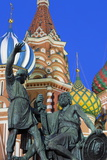 Minin and Pozharskiy Statue and the St Basil's Cathedral in Red Square Illuminated in the Evening