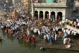 Worshippers at the Ramkund Tank on the Ghats Along the Holy River Godavari
