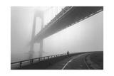 Verrazano Bridge In Fog - New York City Landmark Architecture With Runner