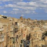 View of the Old Town and Victoria Gate from the Upper Barraca Gardens  Valletta  Malta  Europe