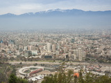 Overview of Santiago from Atop Cerro San Cristobal at Parque Metropolitano De Santiago
