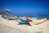 Colourful Fishing Boats in Qalansia on the West Coast of the Island of Socotra  Yemen  Middle East