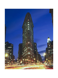 Flat Iron Building at Night 2 - New York City Landmark Street View