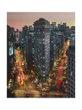 Flat Iron Building With Broadway and Fifth Avenue Dusk - New York City Landmarks Aerial View