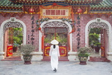 Woman Wearing Ao Dai Dress at Phouc Kien Assembly Hall  Hoi An  Quang Nam  Vietnam  Indochina