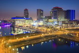 Elevated View of the Modern Mediacity Uk Complex at Salford Quays in Manchester  England