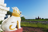 Lion Statue and Temple on Bagan Plain  Bagan (Pagan)  Myanmar (Burma)  Asia
