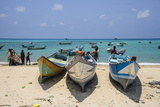 Fishing Boats in the Turquoise Waters of Qalansia on the West Coast of the Island of Socotra