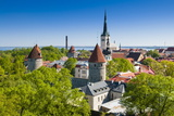 Medieval Town Walls and Spire of St Olav's Church  Toompea Hill  Estonia  Baltic States  Europe