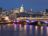 St Paul's Cathedral and Blackfriars Bridge at Dusk  London  England  United Kingdom  Europe
