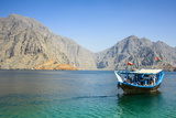 Tourist Boat in Form of a Dhow Sailing in the Khor Ash-Sham Fjord  Musandam  Oman  Middle East