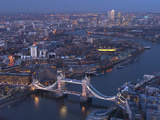 Aerial Photo Showing Tower Bridge  River Thames and Canary Wharf at Dusk  London  England