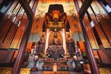 Interior Architecture and Ru Lai Buddha Statue at Lingyin Monastery in Hangzhou  Zhejiang  China