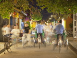 Cyclos and Bicycles on Street at Dusk  Hoi An  Quang Nam  Vietnam  Indochina  Southeast Asia  Asia