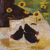 Chickens and Sunflowers