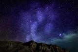 Milky Way Galaxy with Aurora Borealis or Northern Lights, Kjalarnes, Reykjavik, Iceland Papier Photo par Green Light Collection