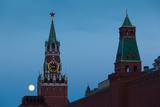 Spasskaya Tower with Moonrise  Kremlin  Red Square  Moscow  Russia
