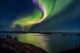 Northern Lights over Thingvallavatn or Lake Thingvellir. Thingvellir National Park. Iceland Papier Photo par Green Light Collection