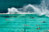 Waves Breaking over Edge of Pool of Bondi Icebergs Swim Club  Bondi Beach  Sydney