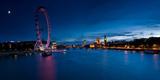 Ferris Wheel Lit Up at Dusk  Millennium Wheel  South Bank  Thames River  London  England