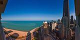 Aerial View of the Lake Shore Drive  John Hancock Tower  Lake Michigan  Chicago  Illinois  USA