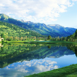 Reflection of Clouds on Water  Teton Pines Golf Course  Jackson  Wyoming  USA