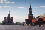 Saint Basils Cathedral and Kremlin Spasskaya Tower  Red Square  Moscow  Russia