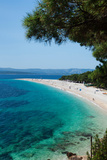 Zlatni Rat Beach with Hvar Island in the Background  Bol  Brac Island  Dalmatia  Croatia