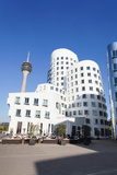 Neuer Zollhof Buildings Designed by Frank Gehry with Rheinturm Tower  Media Harbour