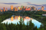 Reflection of Downtown Buildings in Water at Sunrise  North Saskatchewan River  Edmonton