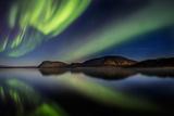 Aurora Borealis or Northern Lights at Lake Thingvallavatn  Thingvellir National Park